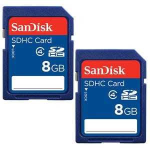 SanDisk 8GB Class 4 SDHC Flash Memory Card - 2 Pack