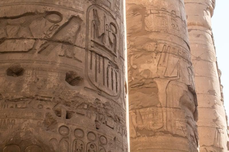 A close up of the inscriptions on Luxor Temple.