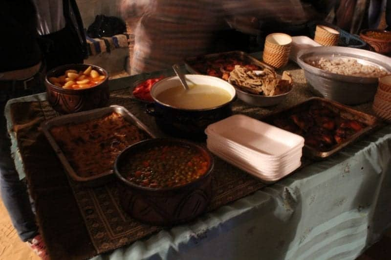 A full spread of food prepared by the Nubian's