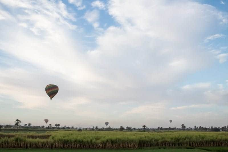 A hot air balloon above some lush green farms