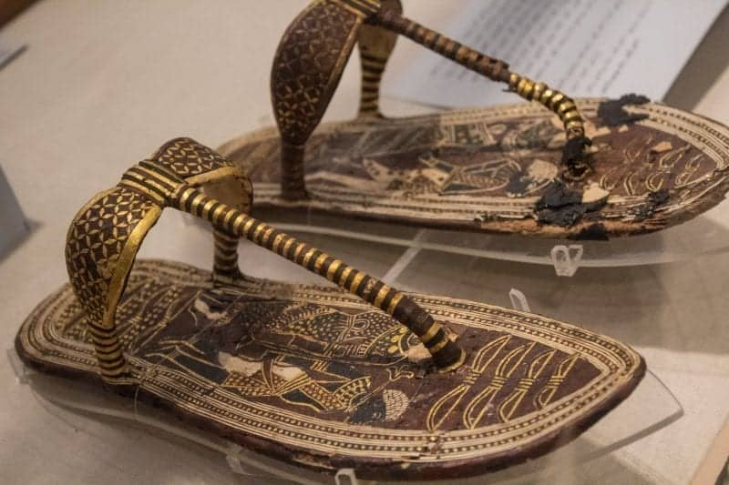 Tutankhamen's golden sandals with gold and black